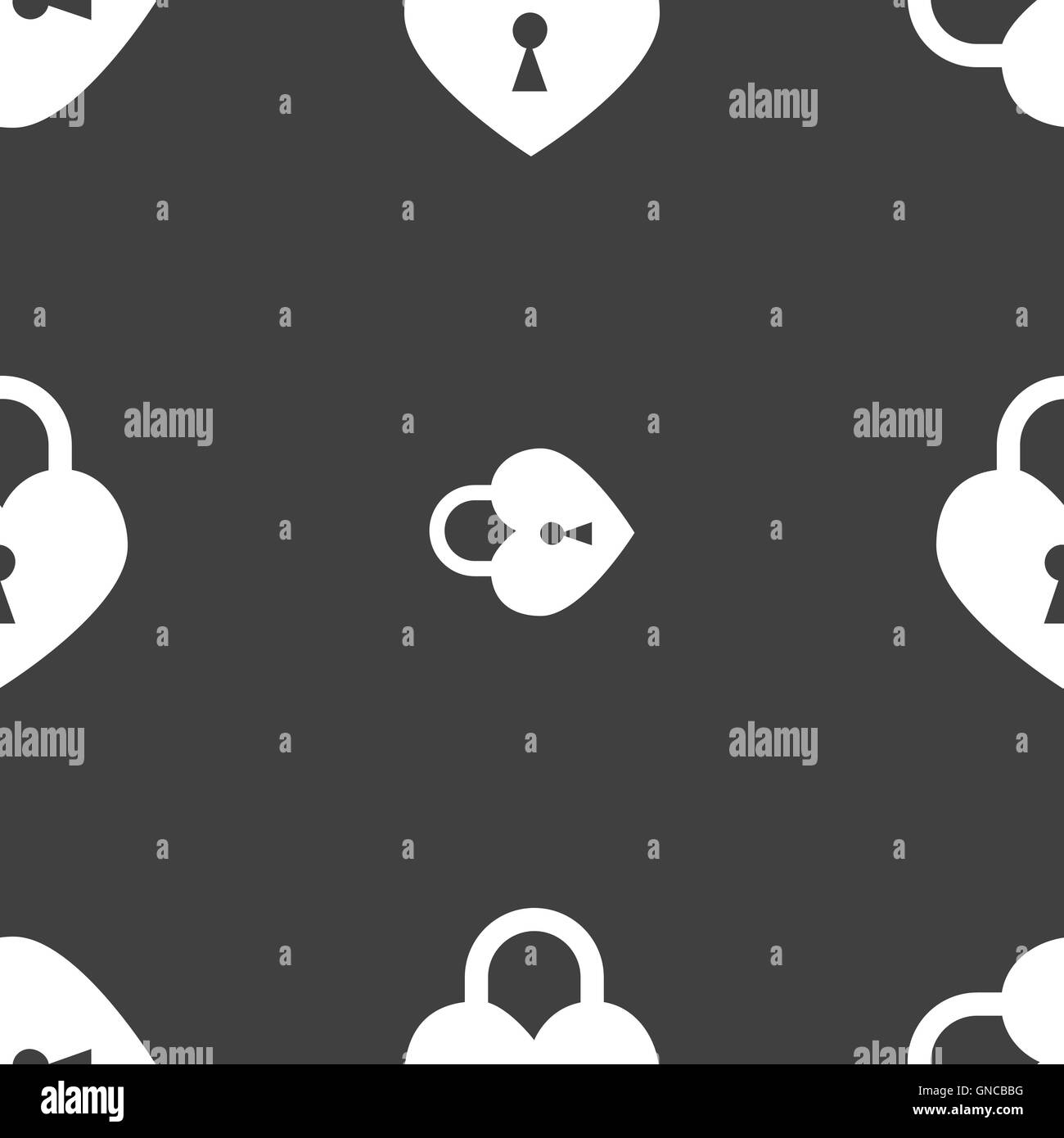 Lock in the shape of heart icon sign. Seamless pattern on a gray background. Vector Stock Vector