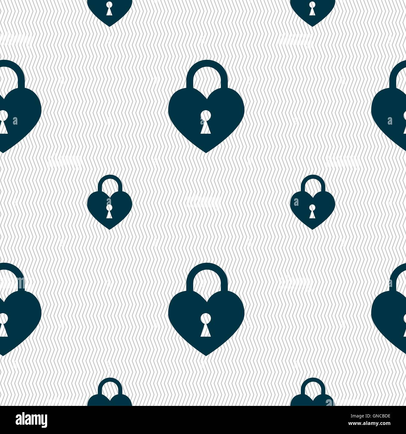 Lock in the shape of heart icon sign. Seamless pattern with geometric texture. Vector - Stock Image