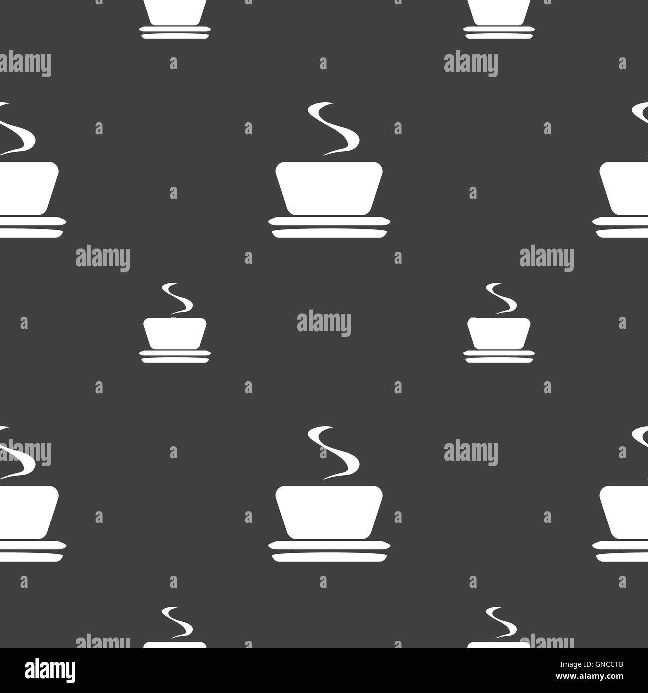 coffee, tea icon sign. Seamless pattern on a gray background. Vector - Stock Image