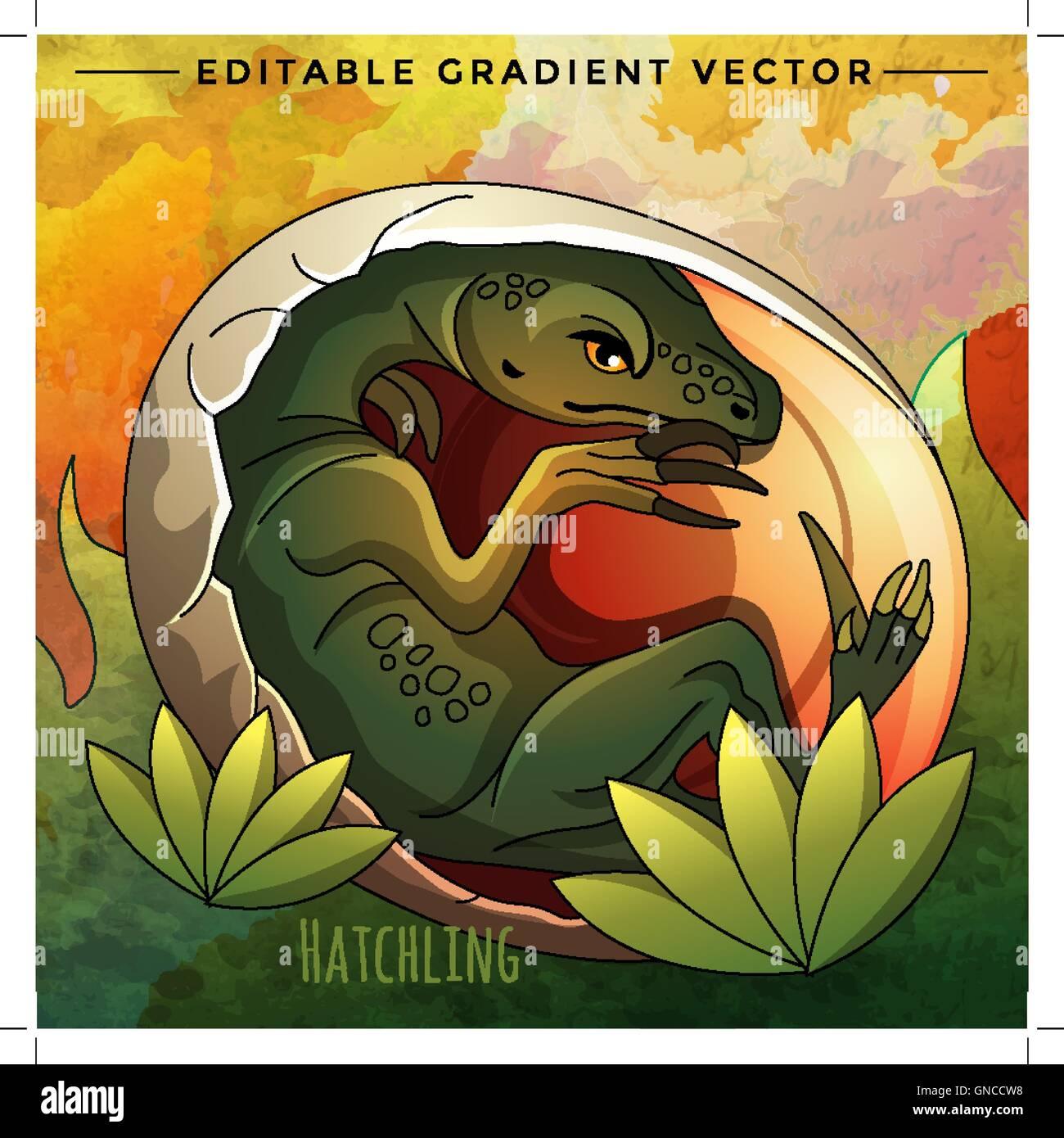 Hatching Dinosaur Egg. Vector Illustration - Stock Image