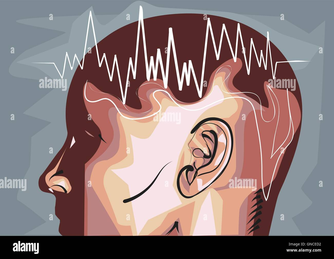 brain waves eeg.  waveforms produced by brain activity - Stock Image