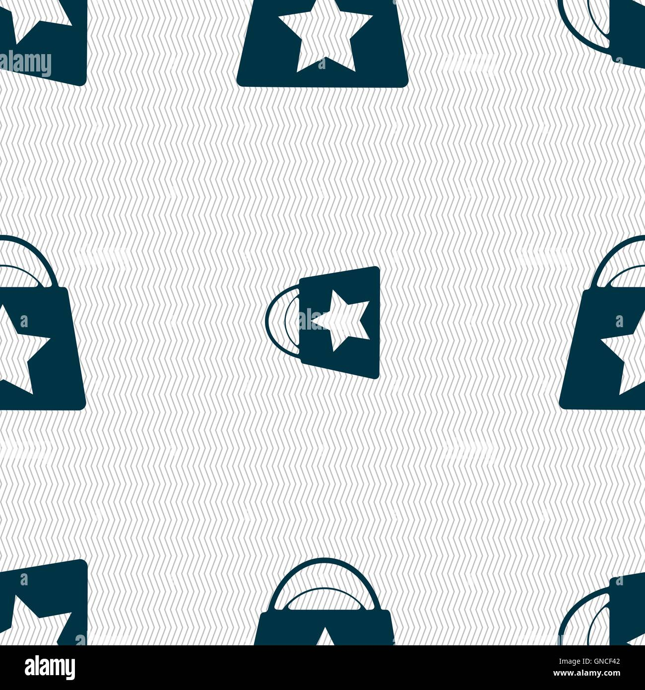 Shopping bag icon sign  Seamless pattern with geometric