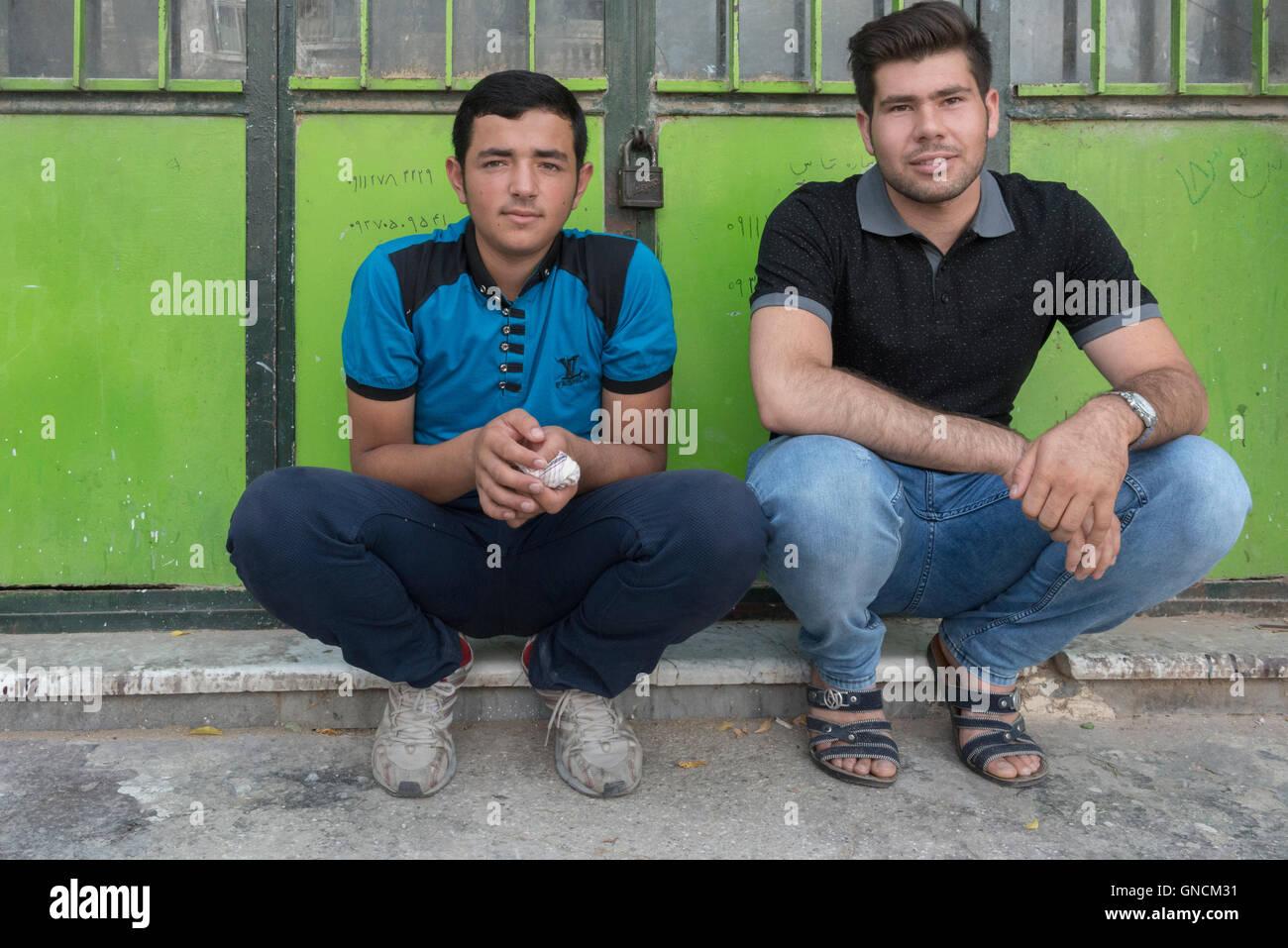 Bandar Torkaman, Turkmen Wedding, Two Young Men - Stock Image