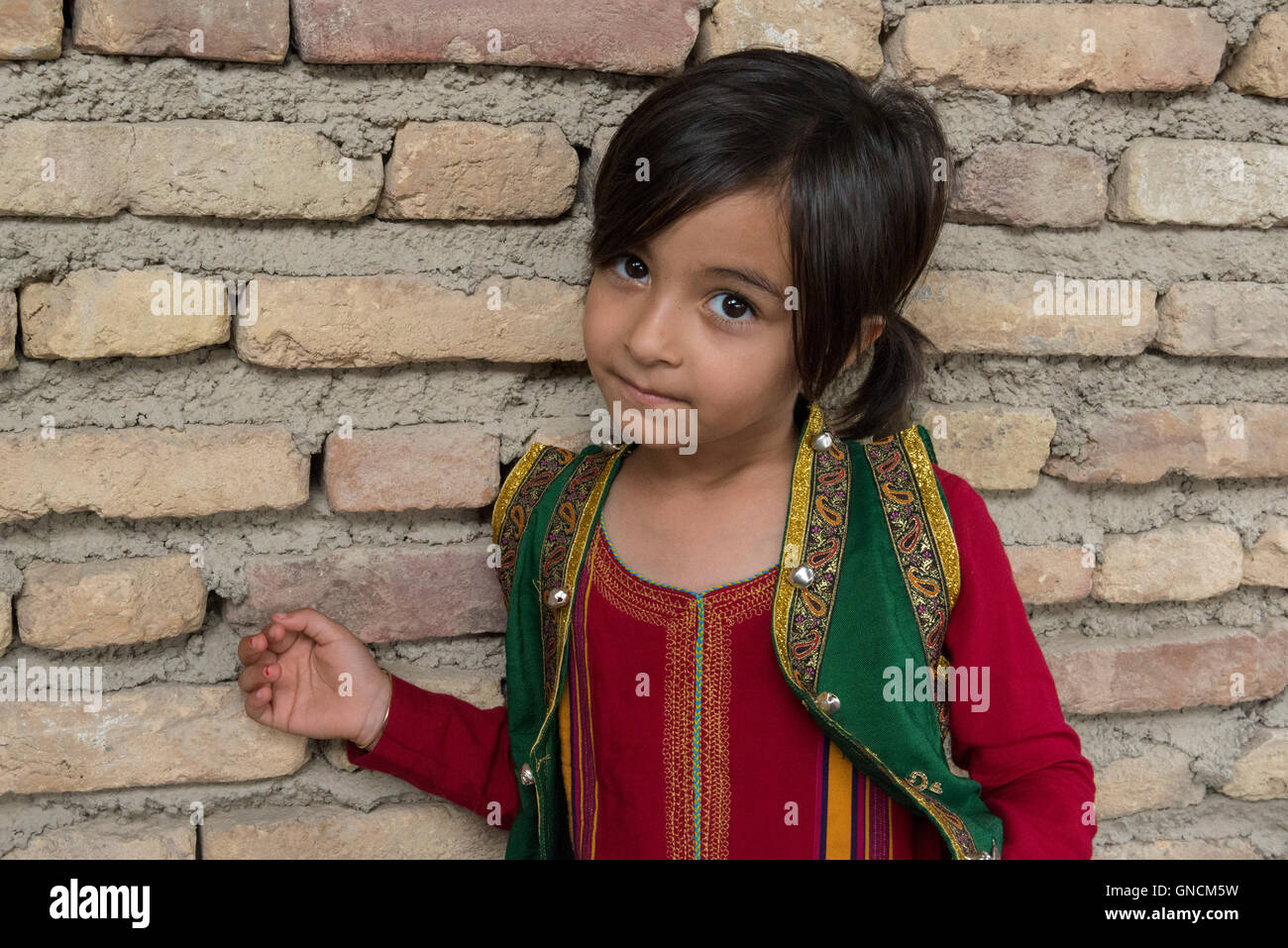 Bandar Torkaman, Turkmen Wedding, Girl In Front Of Brick Wall At Lunch Venue - Stock Image