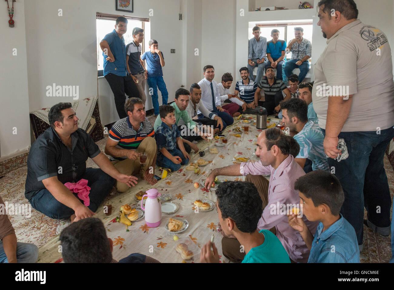 Bandar Torkaman, Turkmen Wedding, Men's Lunch Room - Stock Image