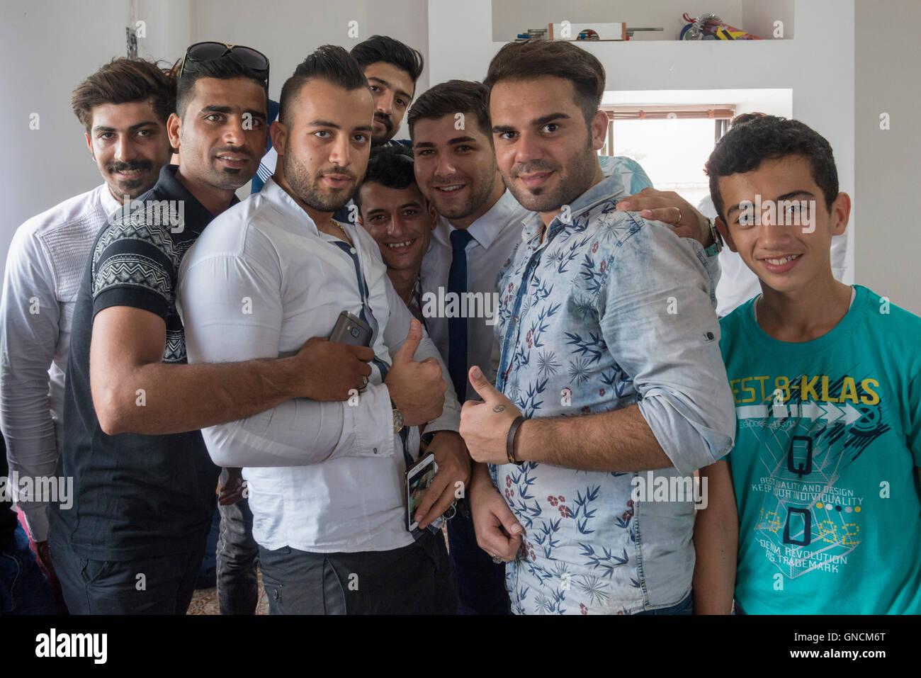 Bandar Torkaman, Turkmen Wedding, Guests In Men's Lunch Room - Stock Image