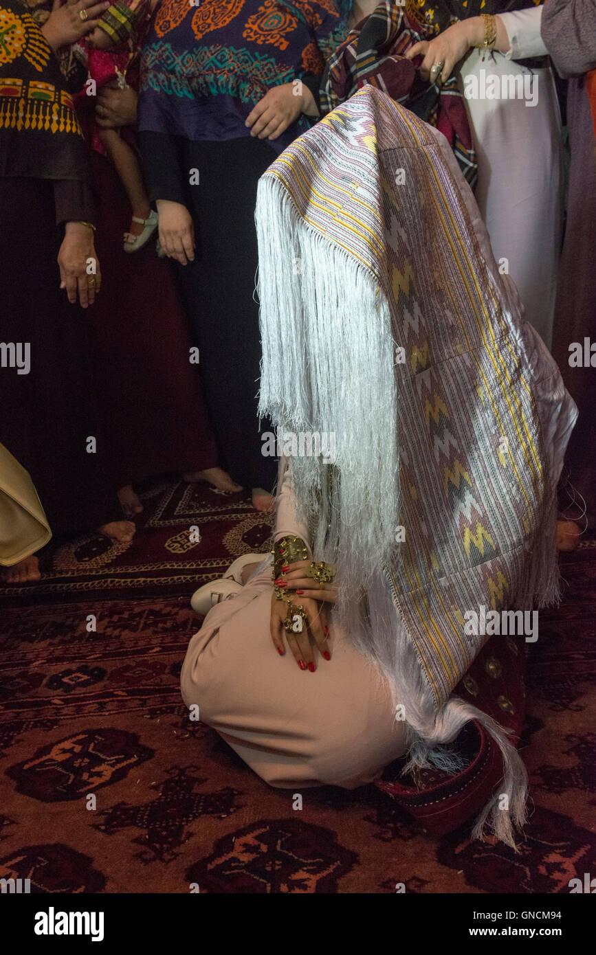 Bandar Torkaman, Turkmen Wedding, Bride Covered With Traditional Veil - Stock Image