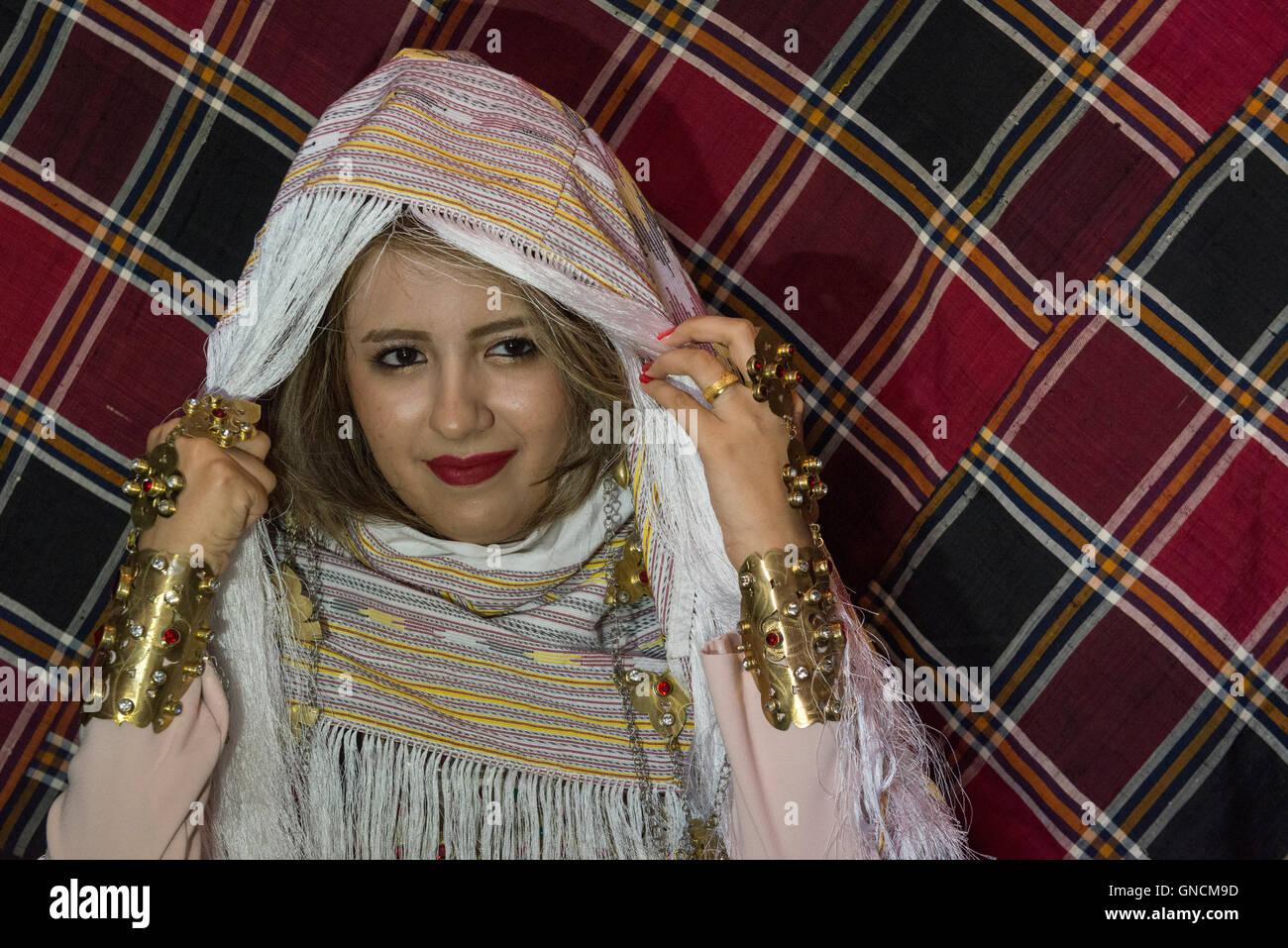 Bandar Torkaman, Turkmen Wedding, Bride Uncovering Traditional Veil - Stock Image