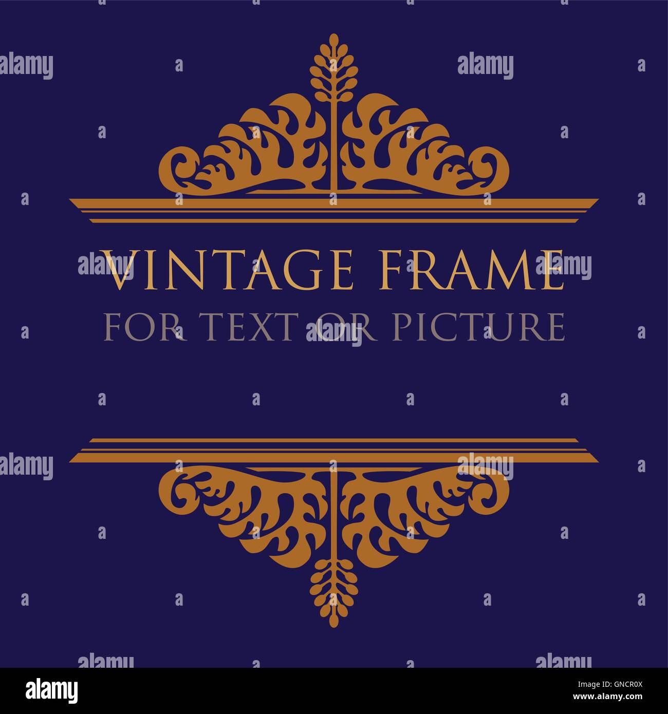 Vintage frame design for text or picture, with stylized acanthus ornament. Opened variant. - Stock Image
