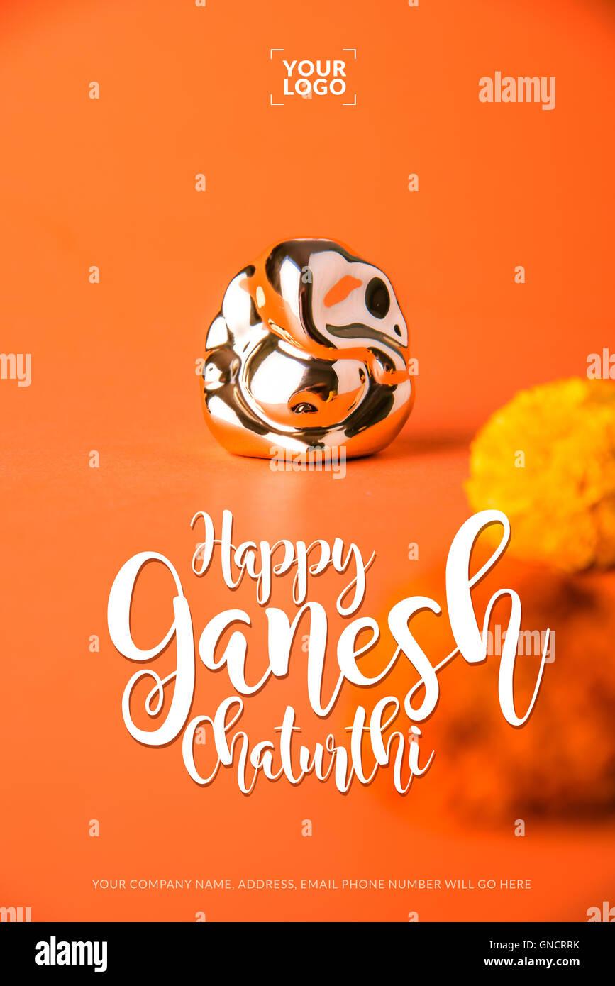 Happy ganesh chaturthi greeting card showing photograph of lord happy ganesh chaturthi greeting card showing photograph of lord ganesha idol m4hsunfo