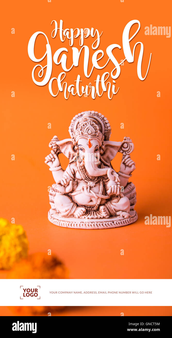 Happy ganesh chaturthi stock photos happy ganesh chaturthi stock happy ganesh chaturthi greeting card showing photograph of lord ganesha idol stock image m4hsunfo