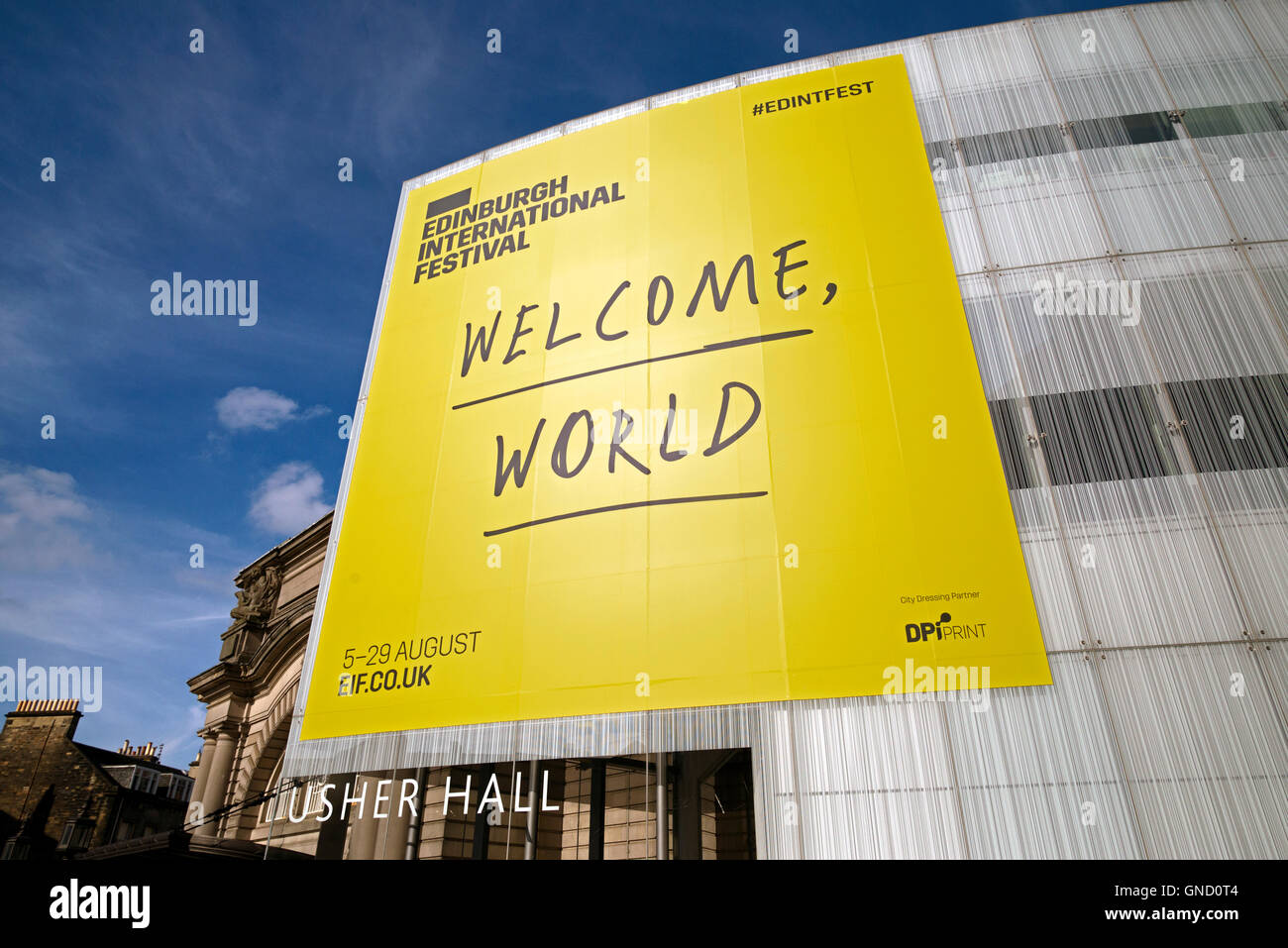 'Welcome World' sign on the Usher Hall during the Edinburgh International Festival. - Stock Image