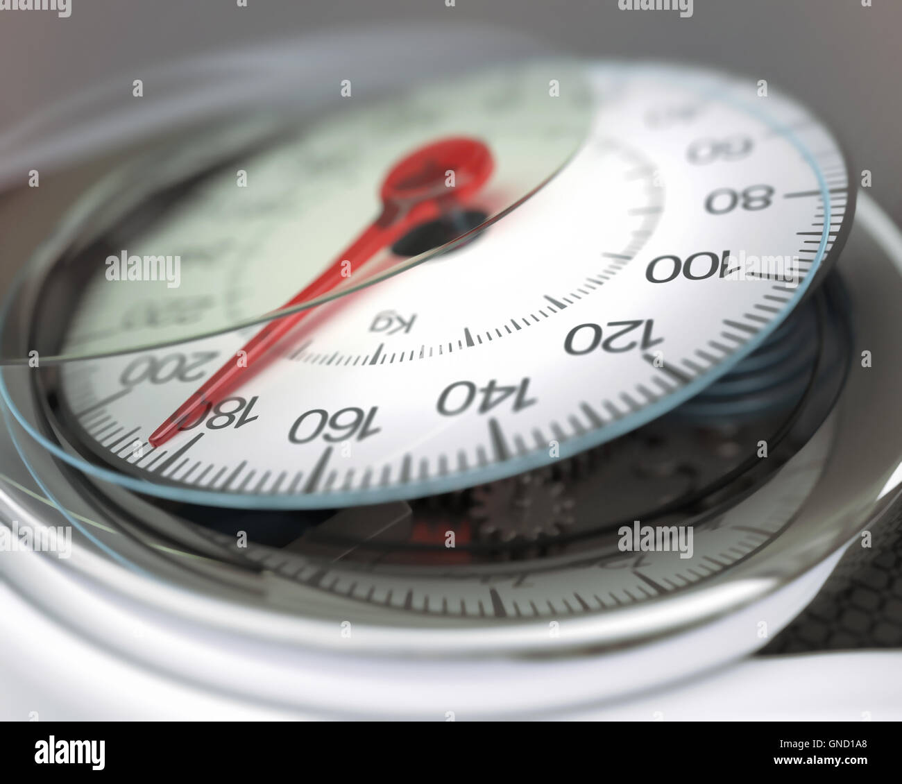 The balance display, broken with excess weight. - Stock Image