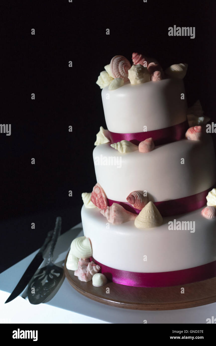 The white wedding cake, decorated with the violet soil and sugar shells. Selective focus. - Stock Image