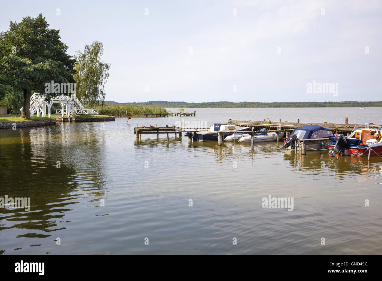 Zierker See with the Weisse Bruecke – white bridge, Neustrelitz, Mecklenburg-Vorpommern, Germany - Stock Image