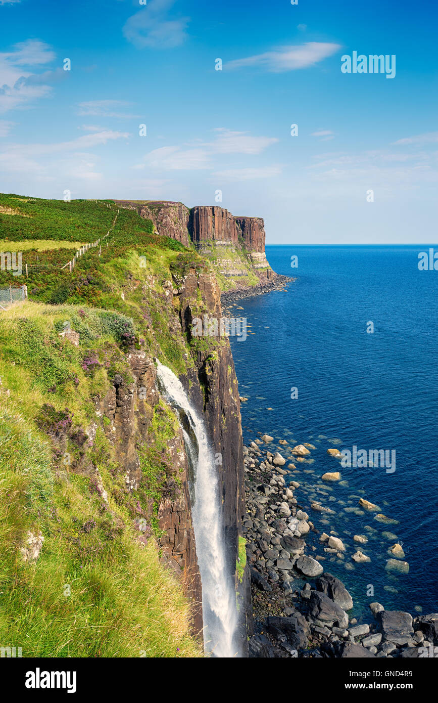 Mealt Falls on the Isle of Skye where water from Loch Mealt plunges over sheer cliffs in to the Sound of Raasay - Stock Image
