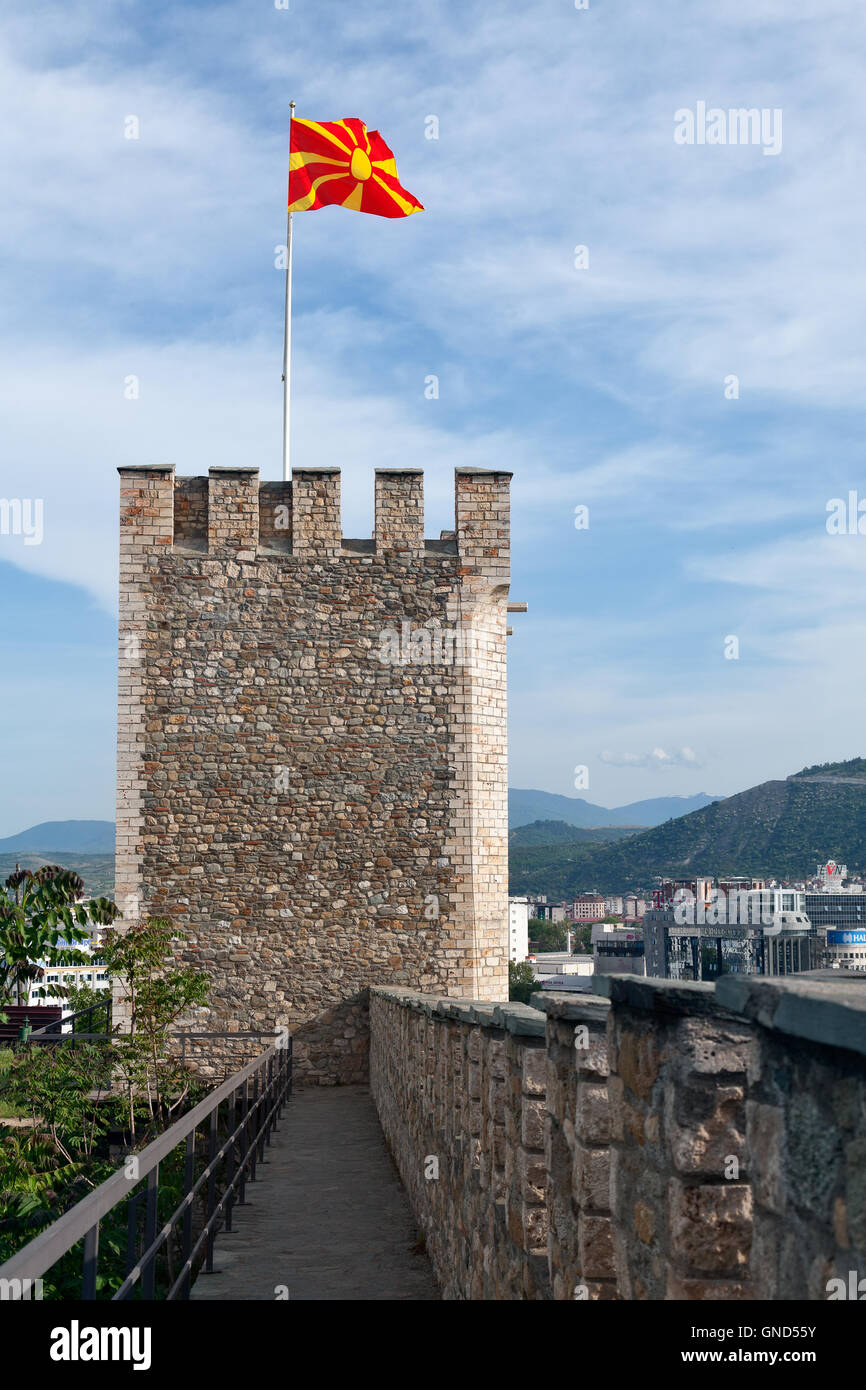 Tower and walls of Kale fortress, Skopje, Macedonia - Stock Image