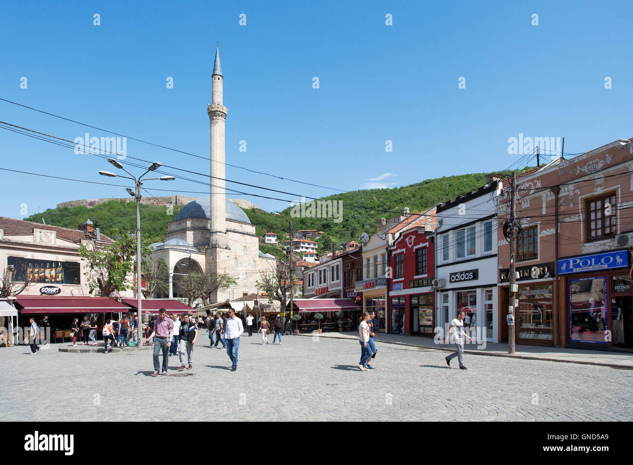 Prizren, Kosovo - May 6, 2015 : Shadervan square and Sinan Pasha mosque and in the center of the old city of Prizren - Stock Image