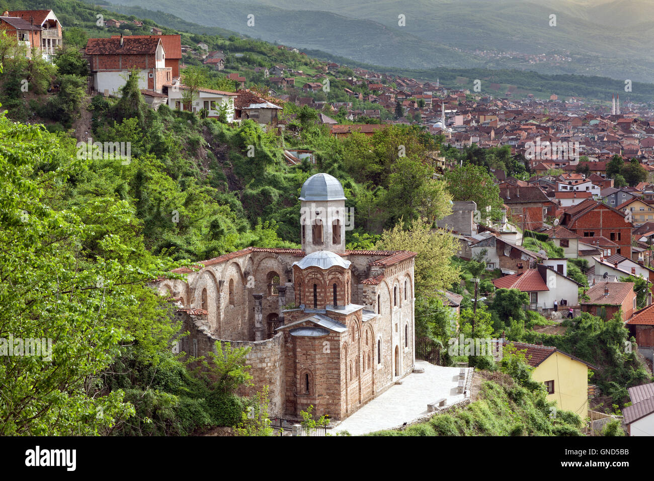 Ruined serbian orthodox church in Prizren, Kosovo - Stock Image