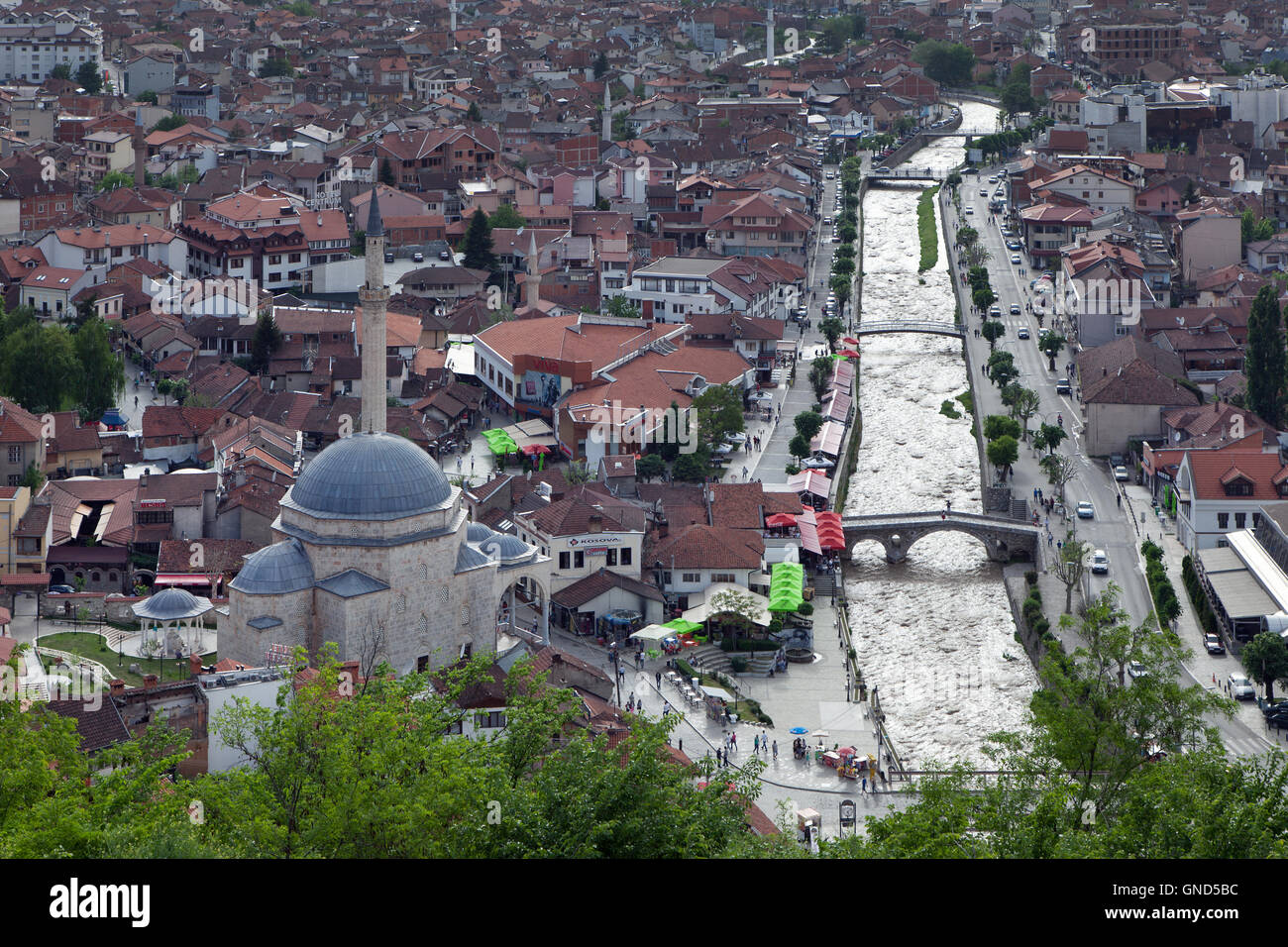 Prizren, Kosovo - May 6, 2015 : Top view of the historic city of Prizren, second largest city of Kosovo - Stock Image