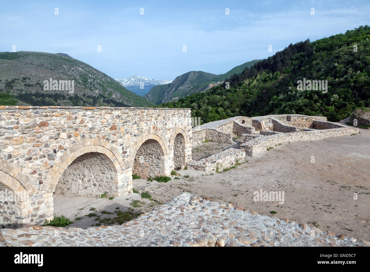 Walls of Prizren castle, Kosovo - Stock Image