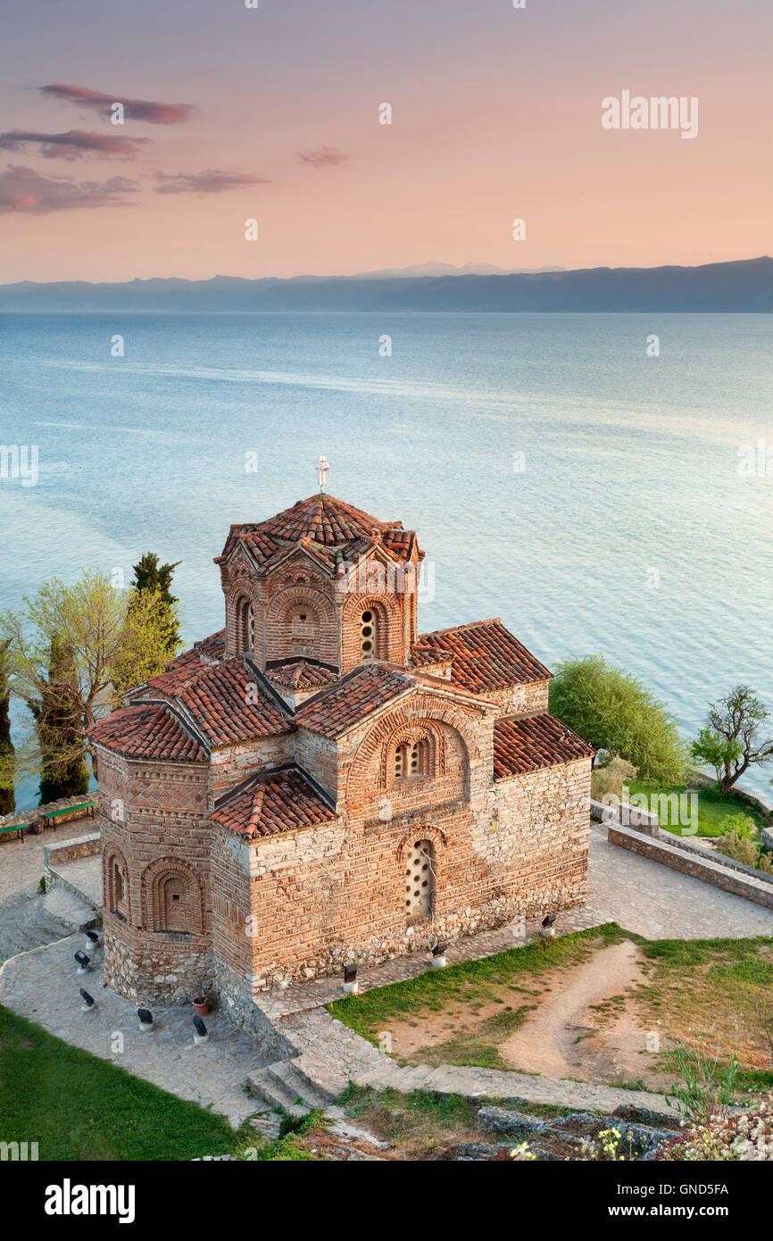 St John Kaneo church, Lake Ohrid at sunset, Macedonia - Stock Image