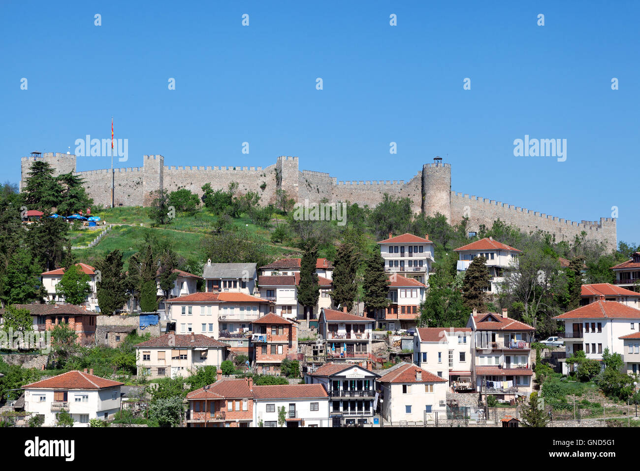 View of Ohrid old town dominated by Samuil's fortress, Macedonia - Stock Image