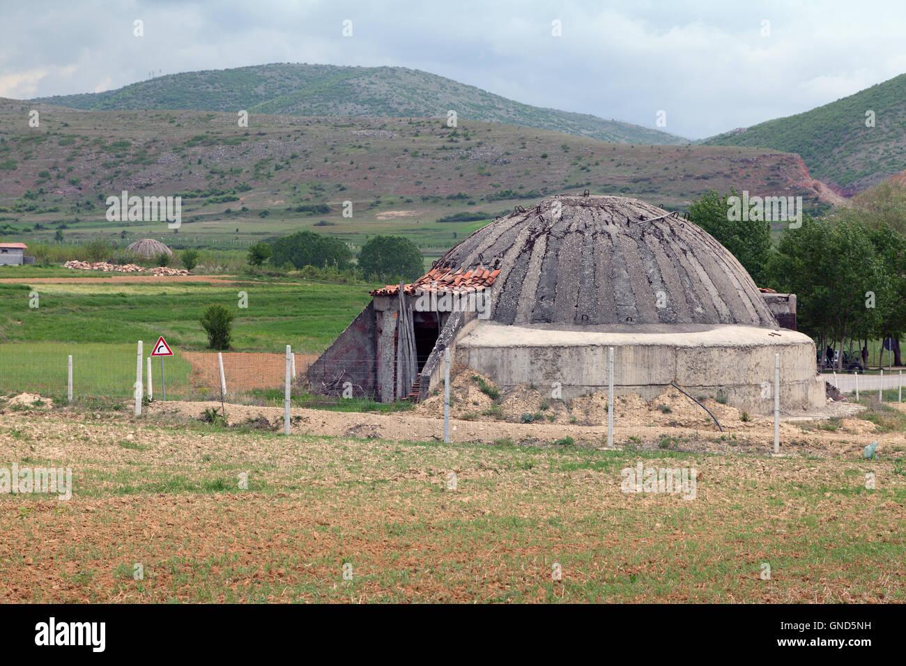 Abandoned communism era concrete bunker, Albania - Stock Image