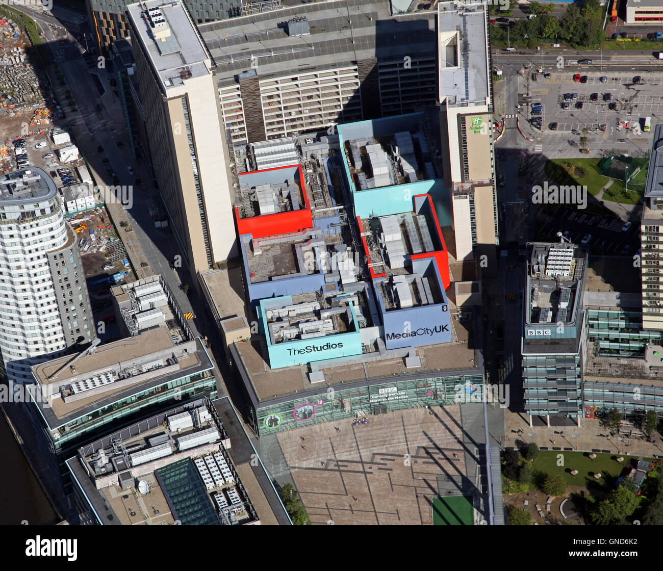 aerial view of the BBC Studios & MediaCity at Salford Quays, Manchester, UK - Stock Image