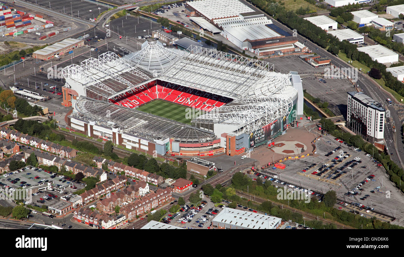 aerial view of Manchester United Old Trafford stadium premiership football ground - Stock Image
