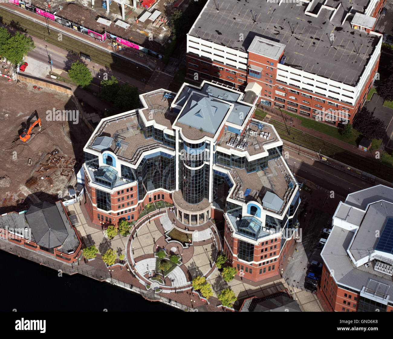 aerial view of the WSP Group plc building at Salford Quays - Stock Image