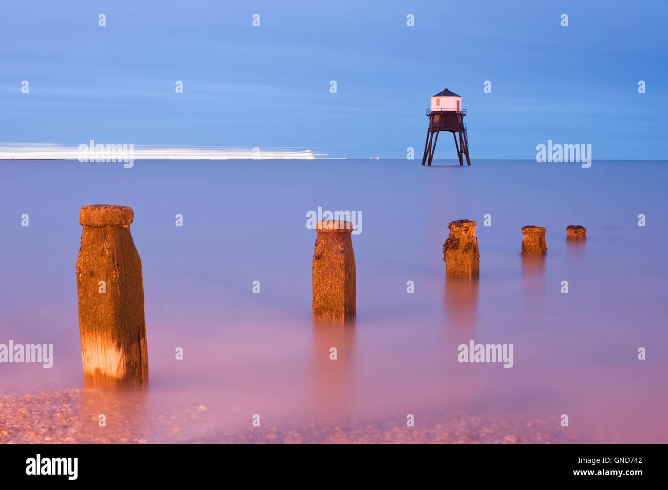 Long exposure of Dovercourt Lighthouse at night Stock Photo