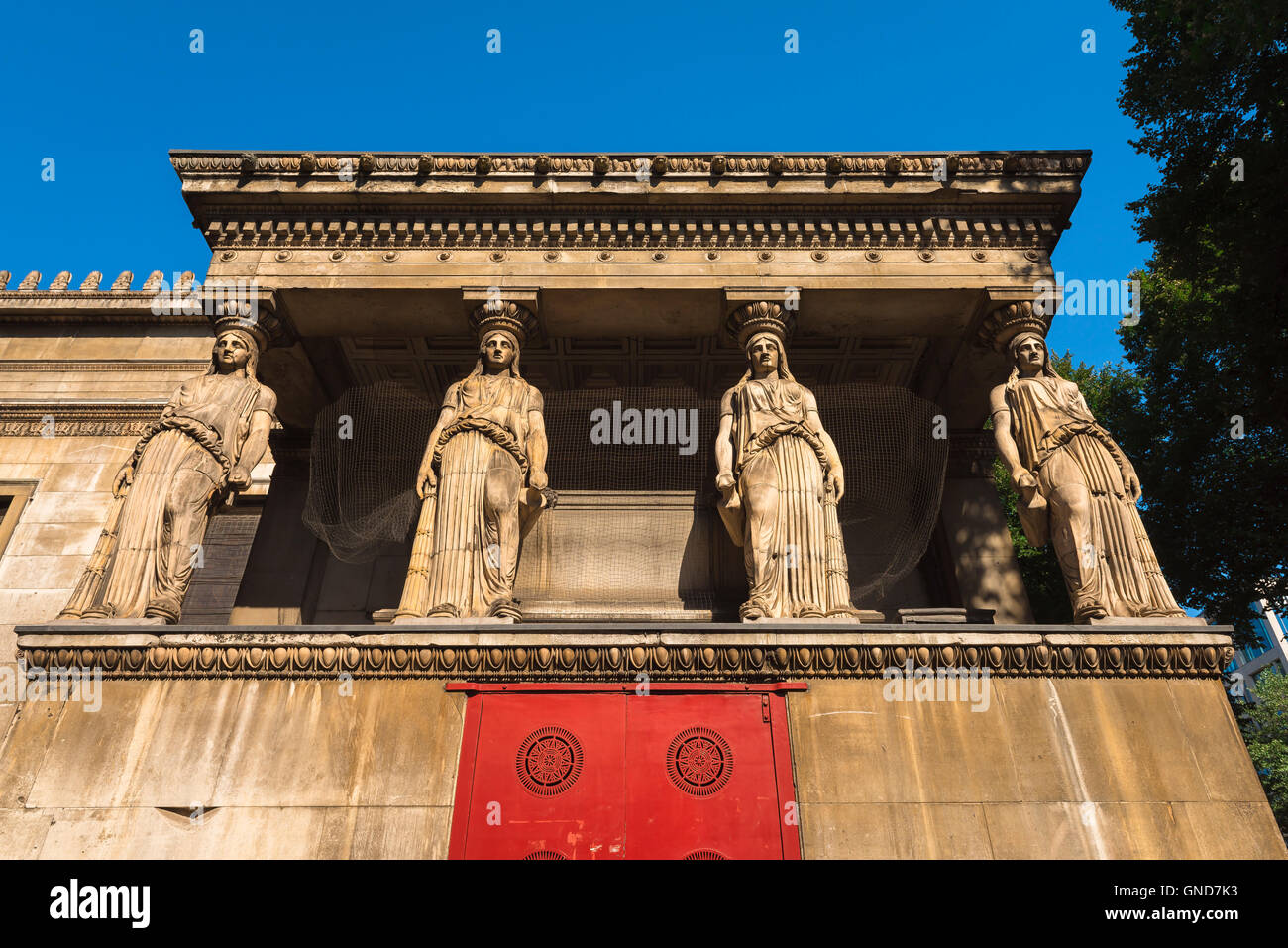 St Pancras New Church London, four caryatids above the crypt of St Pancras New Church in the Euston Road, London, - Stock Image