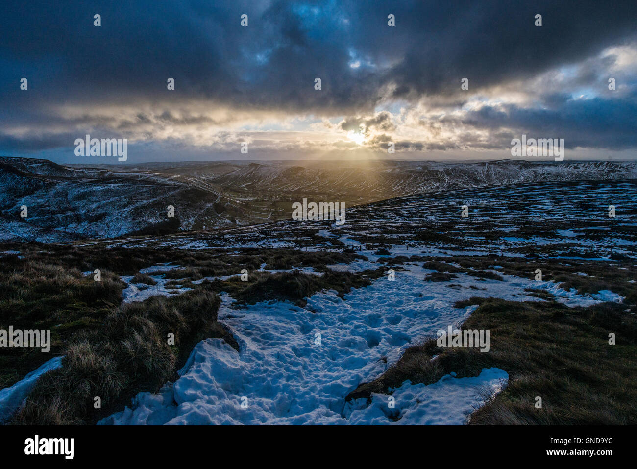 Edale at dawn from Kinder Scout - Stock Image