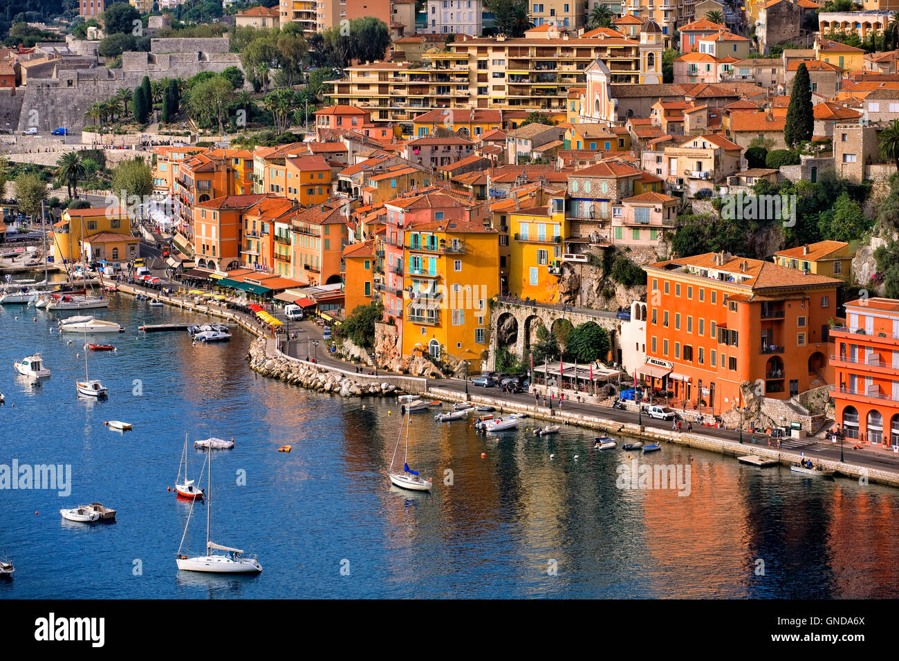 Villefranche sur Mer town along French Riviera, France - Stock Image