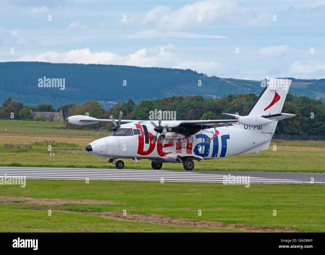 Danish registered Let L-410 UVP-E20 Turbojet Arriving at Inverness Airport Scotland.  SCO 11,213. - Stock Image