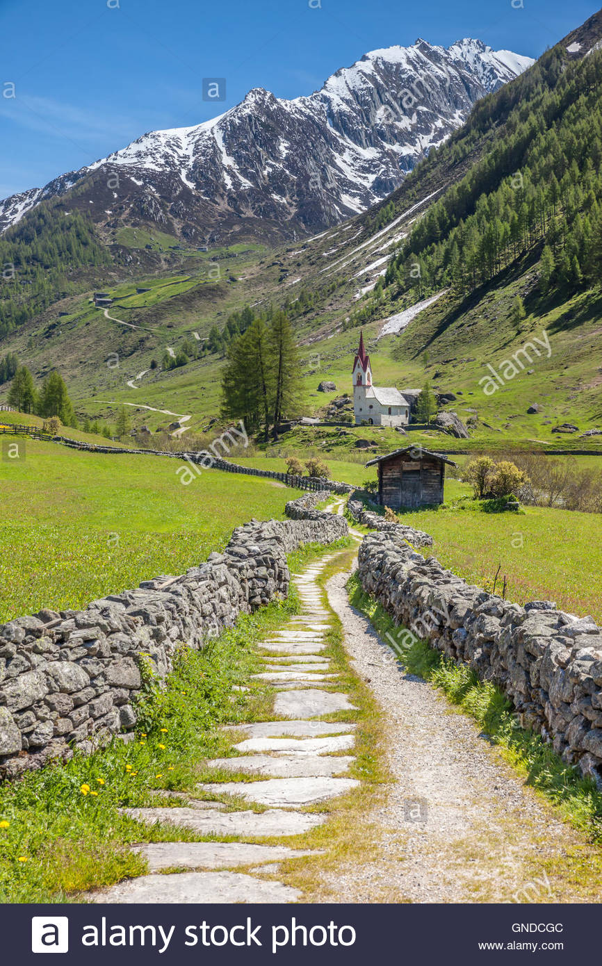 Stations of the Cross to the Holy Spirit Church in Kasern, Rear Ahrntal, South Tyrol, Italy - Stock Image