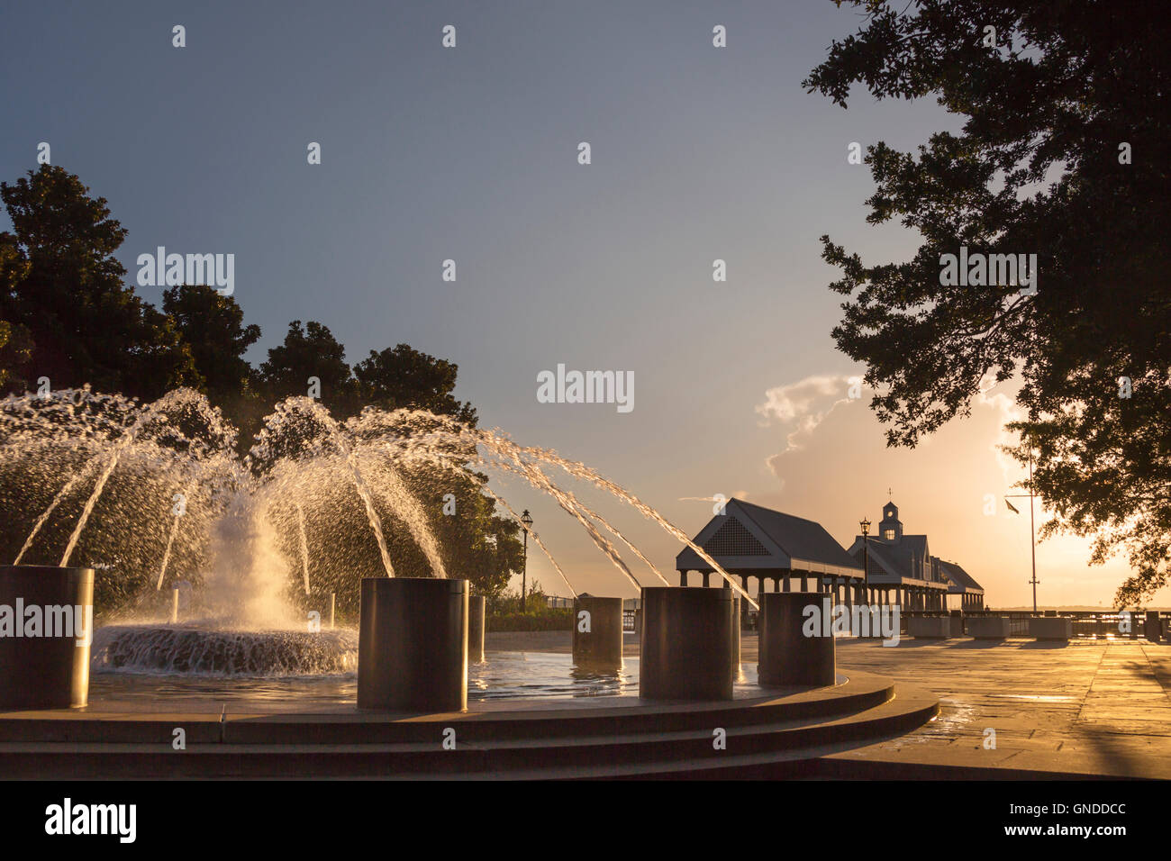 VENDUE FOUNTAIN WATERFRONT PARK DOWNTOWN CHARLESTON SOUTH CAROLINA USA - Stock Image