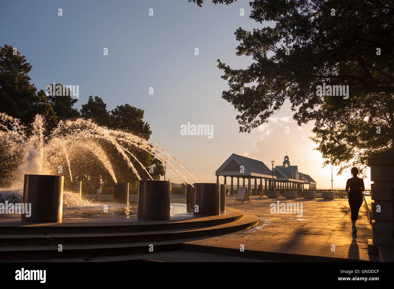 VENDUE FOUNTAIN (©STUART O DAWSON / SASAKI ASSOCS 1990) WATERFRONT PARK DOWNTOWN CHARLESTON SOUTH CAROLINA - Stock Image