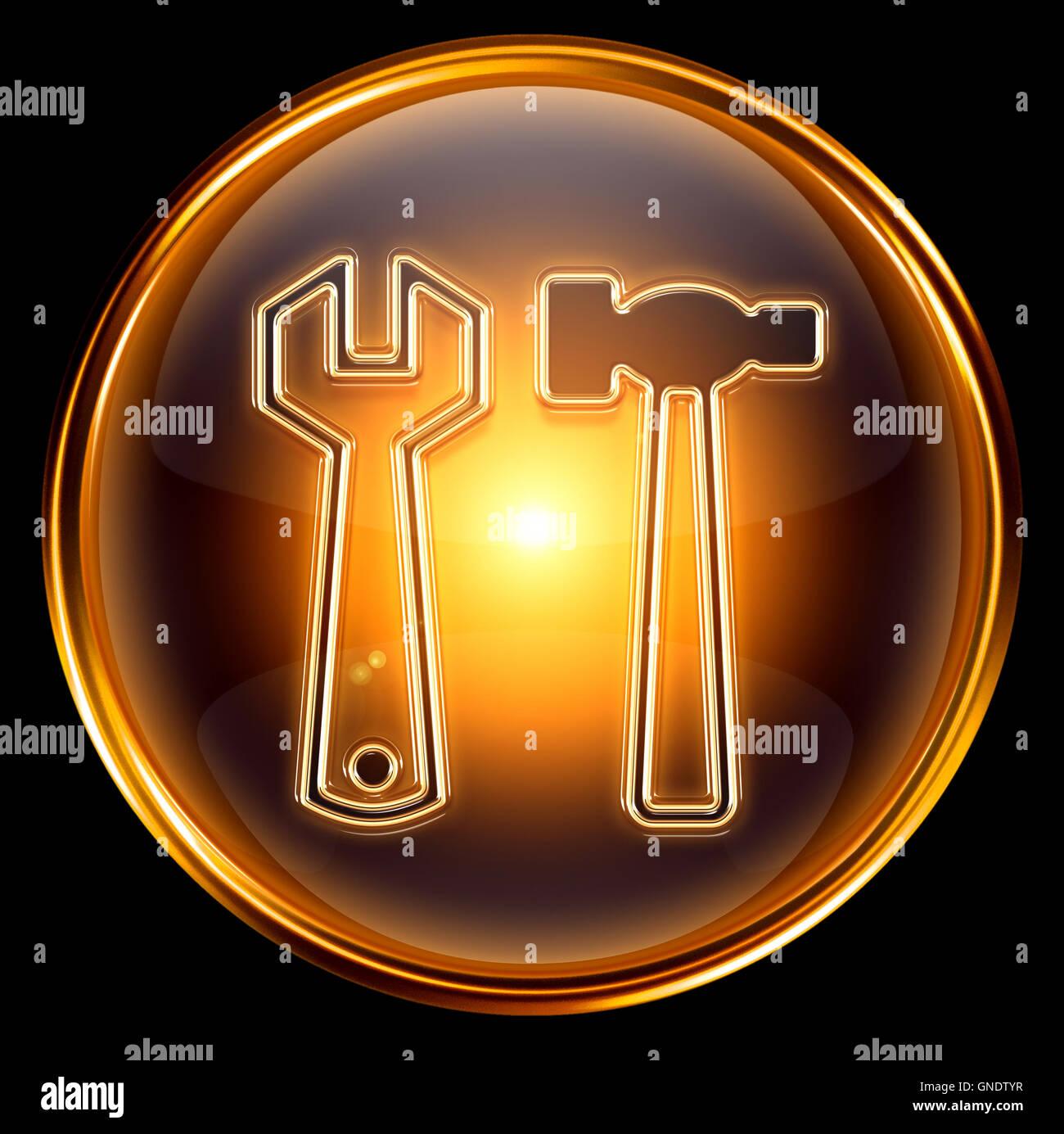Tools icon gold, isolated on black background - Stock Image