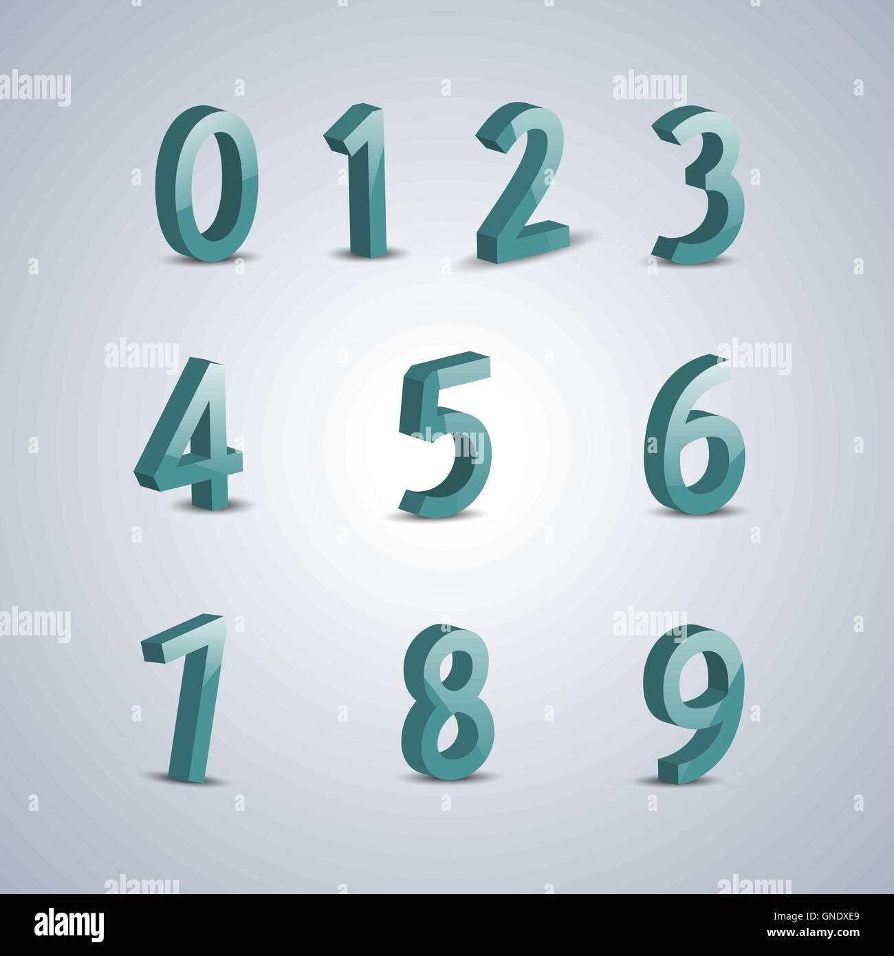 Volumetric numerals, vector illustration. - Stock Image