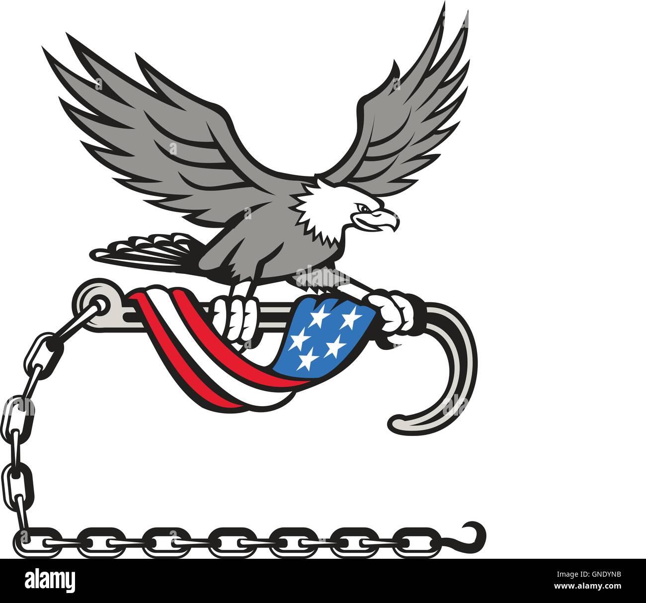 American Eagle Clutching Towing J Hook Flag Drape Retro - Stock Image