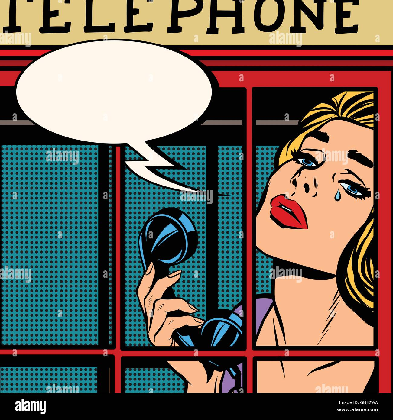 girl crying in the red telephone booth retro - Stock Image