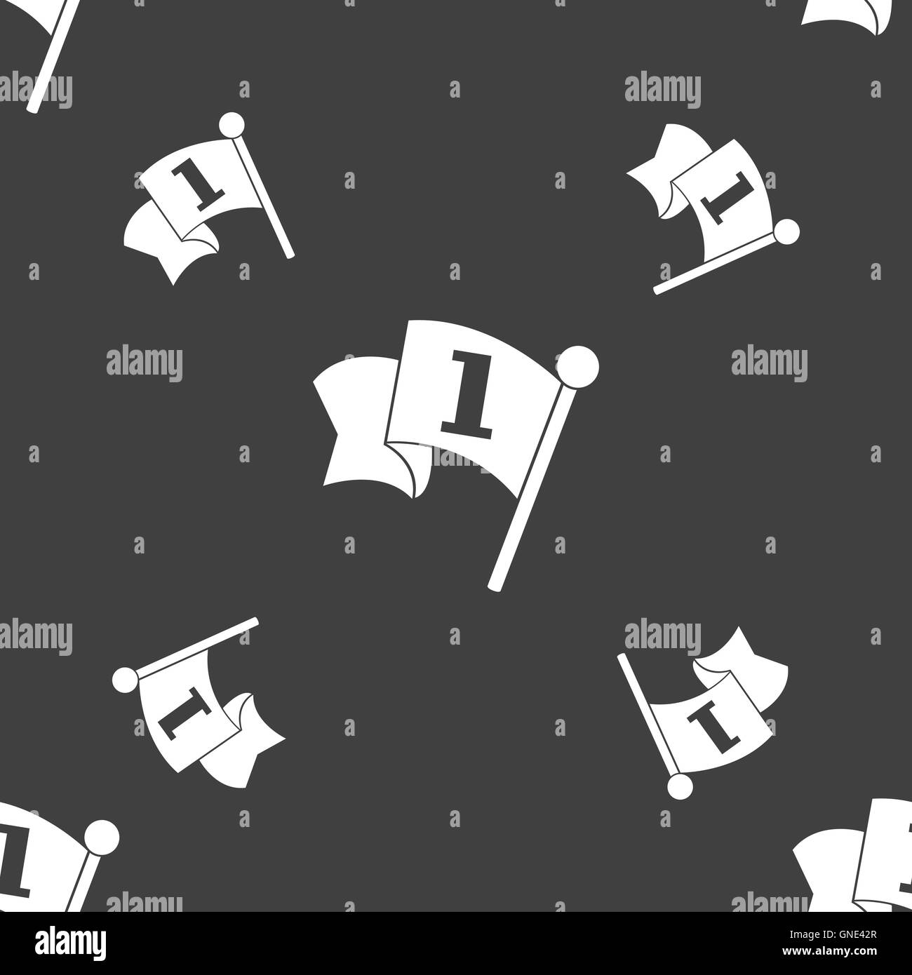Flag icon sign. Seamless pattern on a gray background. Vector - Stock Image