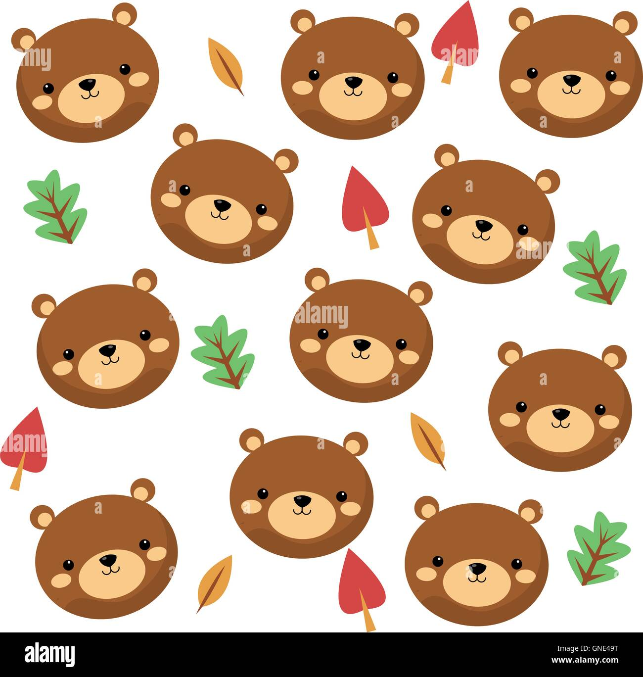 cute bear cartoon pattern background stock vector art illustration