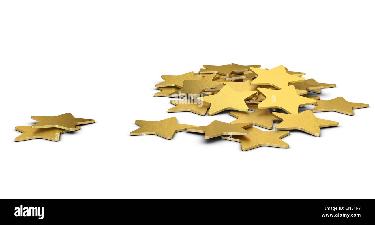 3D illustration of many golden stars over white background - Stock Image