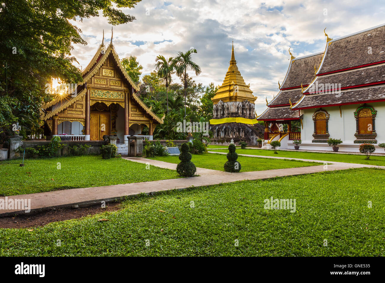 Wat Chiang Man at sunset, the oldest temple in Chiang Mai, Thailand. - Stock Image