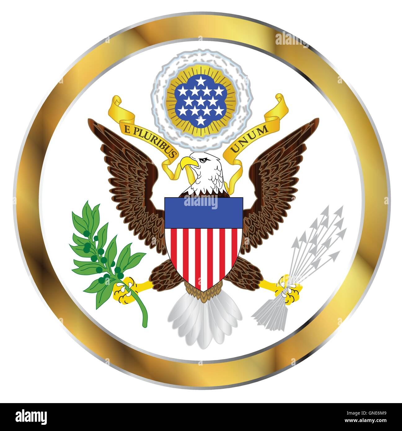 A depiction of the Great Seal of America over a white background - Stock Image