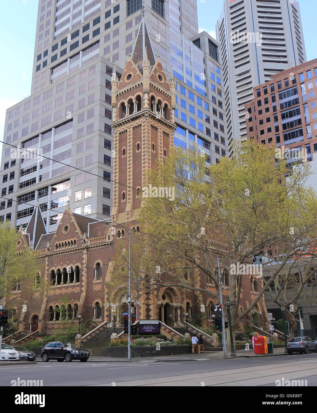 Historical St Michael's Uniting Church in downtown Melbourne Australia - Stock Image