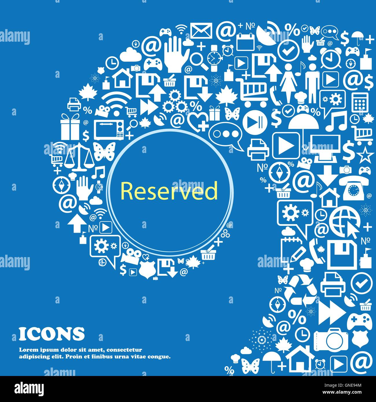 Reserved sign icon . Nice set of beautiful icons twisted spiral into the center of one large icon. Vector - Stock Image